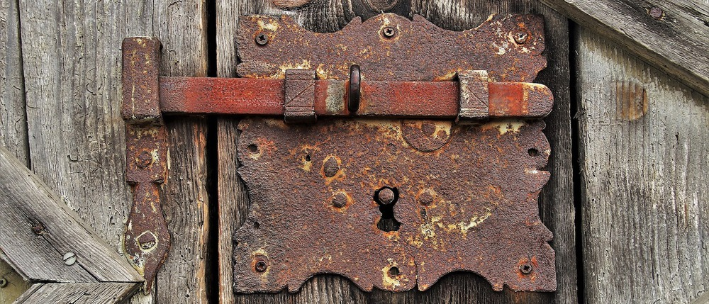 An old and rusty lock